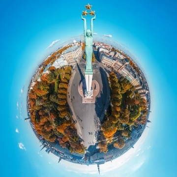 Freedom Monument in Riga - AERIAL 360 PANORAMA PLANET - THUMB