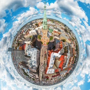 St. Gertrudes Church Riga - AERIAL 360 PANORAMA PLANET - THUMB