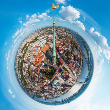 St. Peters Church in Old Riga - AERIAL 360 PANORAMA PLANET - THUMB