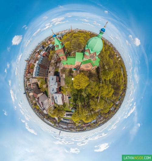 """Aerial panorama over the """"All Saints Church"""" in Riga"""