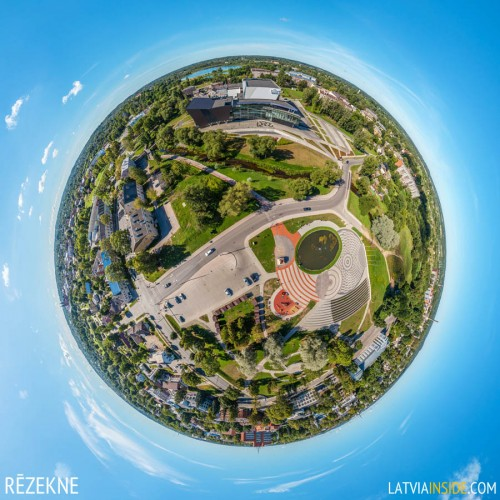 Aerial 360° panoramas of Rezekne city in Latgale