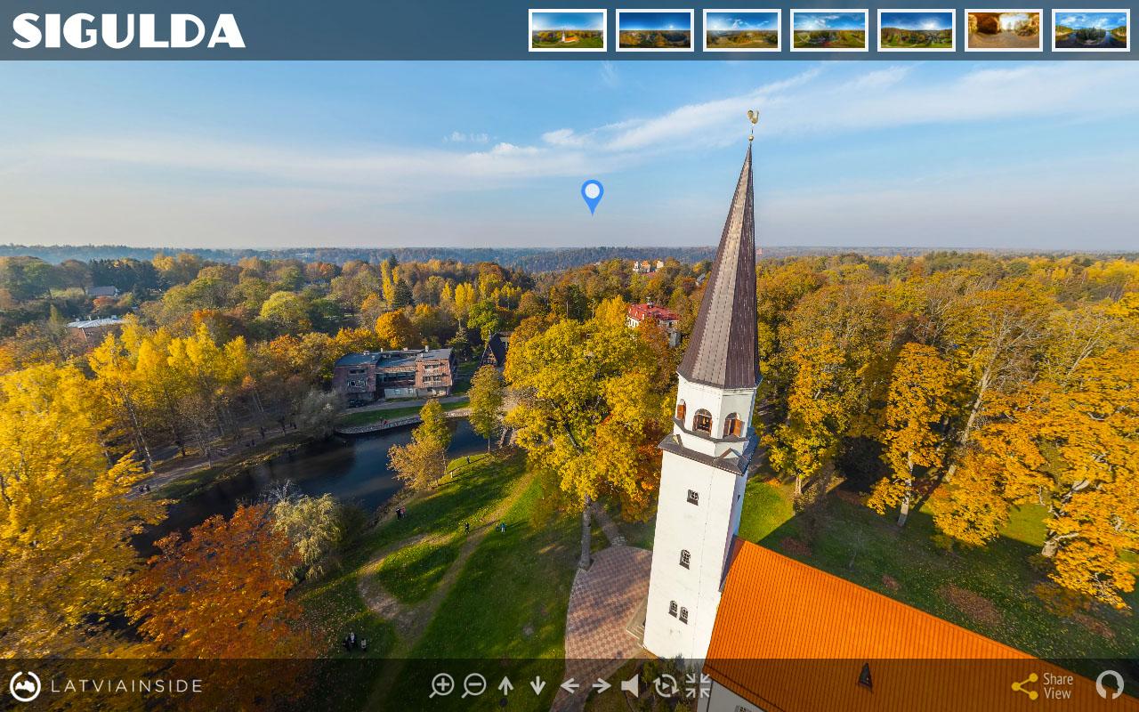 Sigulda Rudens Baznica Aero Foto Panorama | LATVIA INSIDE.COM