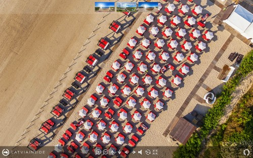 Aerial 360° view over Majori Beach, Jurmala